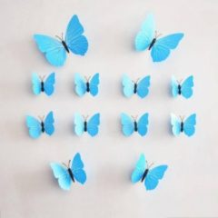 Merkloos / Sans marque 3D vlinders | blauw