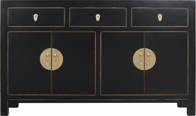 Afbeelding van Zwarte Fine Asianliving Chinese Sideboard Onyx Black - Orientique Collection L140xW35xH85cm Chinese Meubels Oosterse Kast