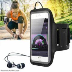 Zwarte Ultraslanke verstelbare sportarmband met aanraakschermbeschermer en sleutelhouder voor iPhone / Samsung / Oppo / Huawei / Xiaomi - Veiligheidsreflectoren, zweetbestendigheid