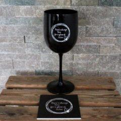 Kadoonline Onbreekbaar wijnglas - met tekst en onderzetters - zwart - There's always Time for a glass of Wine