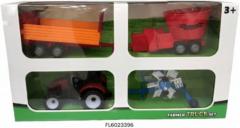 Rode Warenhuisgigant Tractorset frictie met 3 aanhangers 37cm