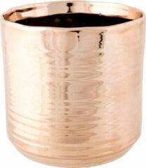 Cosy @ Home 1x Koperen ronde plantenpotten/bloempotten Cerchio 13 cm keramiek - Plantenpot/bloempot metallic koper - Woonaccessoires