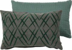 Limelight Kussenset van een kussen Matelasse 40x60cm en een kussen Canvas met een Flockprint patroon in 40x60cm in een groen/grijs combinatie (2 stuks)