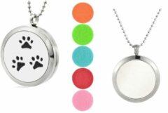 Zilveren Akyol Geurketting Hondenpoot | Ketting met aromatherapie medaillon | Hanger met Hondenpoot 25mm + Geschenkzakje