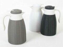 Gerim 2x Witte rotan koffiekan/isoleerkan 1 liter - Koffiekannen/theekannen/isoleerkannen/thermoskannen