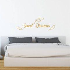 Merkloos / Sans marque Muursticker Sweet Dreams Met Veren - Goud - 160 x 53 cm - slaapkamer engelse teksten - Muursticker4Sale
