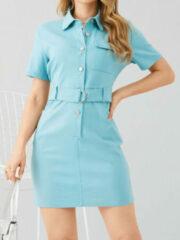 Blauwe YOINS Belt Lapel Button Pocket Dress