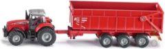 Rode Siku Massey Ferguson 8480 tractor met Krampe kipwagen rood (1844)