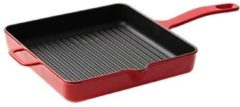 Surel Gietijzeren vierkante grillpan rood, 25cm - Sürel