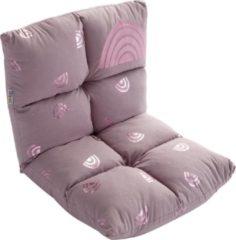 """Howa 2 in 1 Kinderfauteuil + Kinderlounger - 6-voudig verstelbare rugleuning """"rainbow"""" roze 86011"""