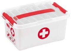Rode Sunware Q-line EHBO Opbergbox - Met inzet - 6 l - wit/transparant/rood