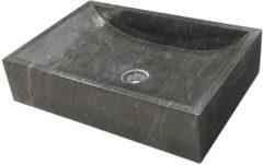 Antraciet-grijze Waskom Imso Lavabo Quadrato Nero Marmer 50x35x12 cm
