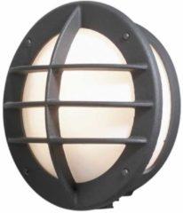 Konstsmide Buitenlamp 'Oden Opal' Wandlamp, met stopcontact, E27 max. 60W / 230V, kleur Zwart