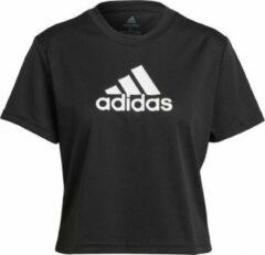 Adidas Cropped Sport Sportshirt - Maat XS - Vrouwen - zwart - wit