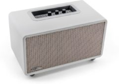 Caliber Retro speaker HFG411BT/W -Witte leren retro vintage Bluetooth speaker met USB, aux in ,volume,bass,treble regeling