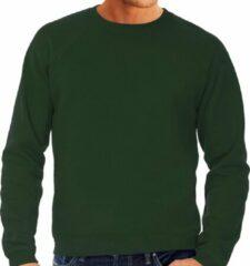 Fruit of the Loom Groene sweater / sweatshirt trui met raglan mouwen en ronde hals voor heren - groen / donkergroen- basic sweaters S (EU 48)