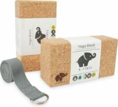 Bruine A-FTNSS Yoga Blokken Set Kurk | 100% Portugees kurk | 2 Kurk Yoga Blokken (22.7x12x7.5 cm) + Gratis Yoga Riem