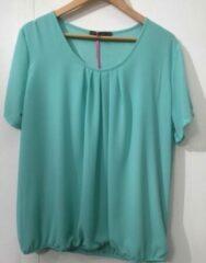 Merkloos / Sans marque Pink Lady dames blouse licht groen uni KM - maat S