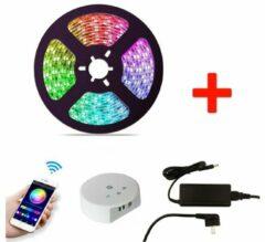 Blauwe Groenovatie Smart RGB LED Strip Set, 5 Meter, 14.4 Watt/meter, Met Adapter & Wifi Controller