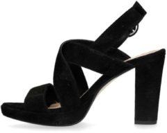 Manfield - Dames - Zwarte suède sandalen met hak - Maat 40