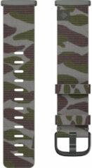 Fitbit Versa 3/Sense Nylon Bandje Groen Camouflage S