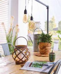 Bruine Luxform swing solar tafellamp met vlameffect 21cm (H) tuinverlichting op zonne-energie