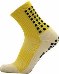 Zonder merk Gripsokken voetbal geel - sportsokken - grip - one size - anti blaren - compressie - prestatieverhogend - tennis - hardlopen - handbal - sporten - fitness