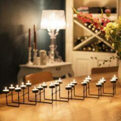 Lifa-Living LIFA LIVING Moderne Theelichthouder - Tafelkandelaar - 22 kaarsen - Inschuifbaar - Zwart