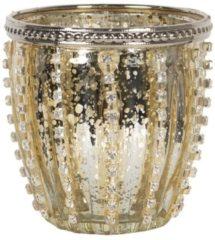 Clayre & Eef Glazen Theelichthouder 6GL2907 Ø 9*9 cm - Goudkleurig Glas Waxinelichthouder Windlichthouder