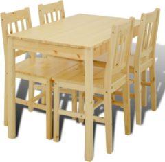 Bruine VidaXL Houten eetkamertafel met vier stoelen (naturel)