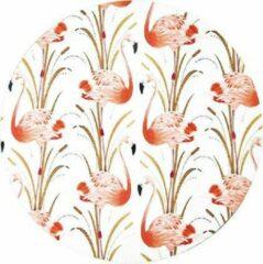 Paarse Geen uitzonderingen Moodadventures | Muismat Rond Vintage Flamingo | 20 x 20 cm.