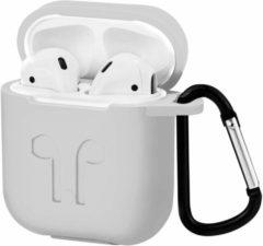Case2go Hoesje geschikt voor Airpods (Apple) - Premium Siliconen beschermhoes met opdruk - 3.0 mm - Wit