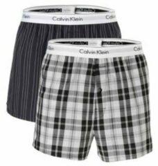 Witte Calvin Klein 2-pack woven slim fit boxers stripe & plaid