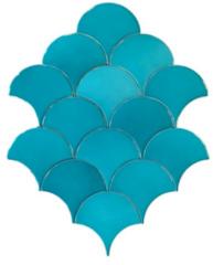 Terre d'Azur Hawaiian visschub tegels / mermaid tegels turquoise 12,5x6.3cm