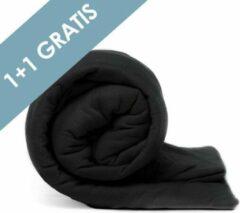 Zwarte Casa Collection Voordeelpack Jersey Hoeslaken Black 1 + 1 GRATIS-80/90 x 200 cm