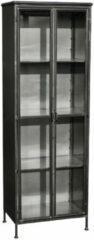 Antraciet-grijze PTMD COLLECTION PTMD VITRINEKAST STEEL GLASS DOORS