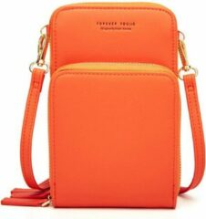 Merkloos / Sans marque Compact Telefoontasje – 3 Compartimenten – Oranje – Ideaal Voor op Een Feestje