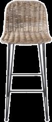 Clayre & Eef Barkruk 5Y0409 40*40*93 cm - Bruin Rotan/ ijzer Kruk Barstoel