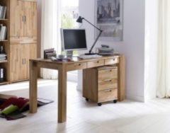 Schreibtisch mit Rollcontainer in Kernbuche massiv MCA-Furniture Cento
