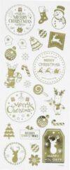 Merkloos / Sans marque Kerst stickervel met 26 gouden kerstmis stickers