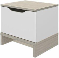 Gamillo Furniture Nachtkastje Gray 39 cm hoog in wit me eiken