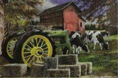 Mooiblik Cows and John Deere. Metalen wandbord 30 x 45 cm.