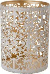 Witte Cosy and Trendy Theelichthouders/waxinelichthouders Glas Antiek Goud / White Wash 13 Cm - Windlichtjes/kaarsenhouders