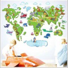 Wereld Kaart / Wereldbol Met Dieren Muursticker / Poster XL