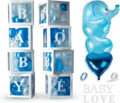 Lichtblauwe Fissaly® 58 Stuks Babyshower Jongen & Gender Reveal Versiering Dozen – Baby Boy – Mommy to Be Party - Decoratie Ballonnen Pakket - Feestpakket