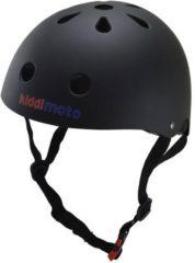 Zwarte Kiddimoto - Matte Zwart - Medium - Geschikt voor 4-10jarige of hoofdomtrek van 53 tot 58 cm - Skatehelm - Fietshelm - Kinderhelm - Mooie helm