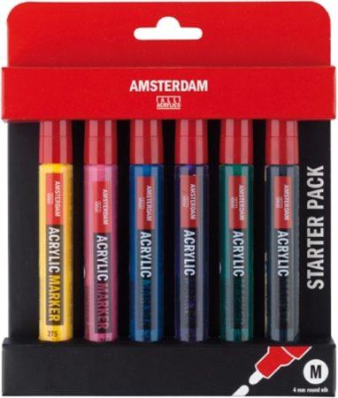 Afbeelding van Amsterdam Markers M set 6 kleuren 4 mm (primairgeel, quinacridonerose, briljantblauw, ultramarijnviolet, geelgroen en oxydzwart)
