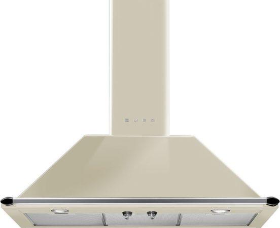 Afbeelding van Creme witte Smeg KT90PE afzuigkap 788 m³/uur Muurmontage Crème A
