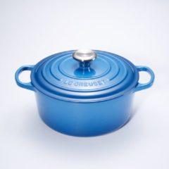 Blauwe Le Creuset Signature Braadpan - 4,2 liter - 24 cm - Marseille Blauw