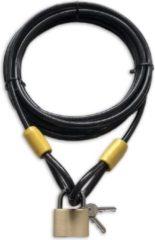 Zwarte Lynx kabelslot 5 meter lang | ø10mm x 500cm | Staalkabel met lussen en hangslot | Slot tuinmeubelen terras bootslot